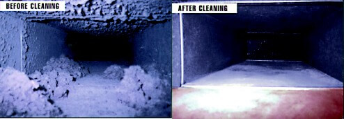 Ductwork before and aftter cleaning with Rotobrush
